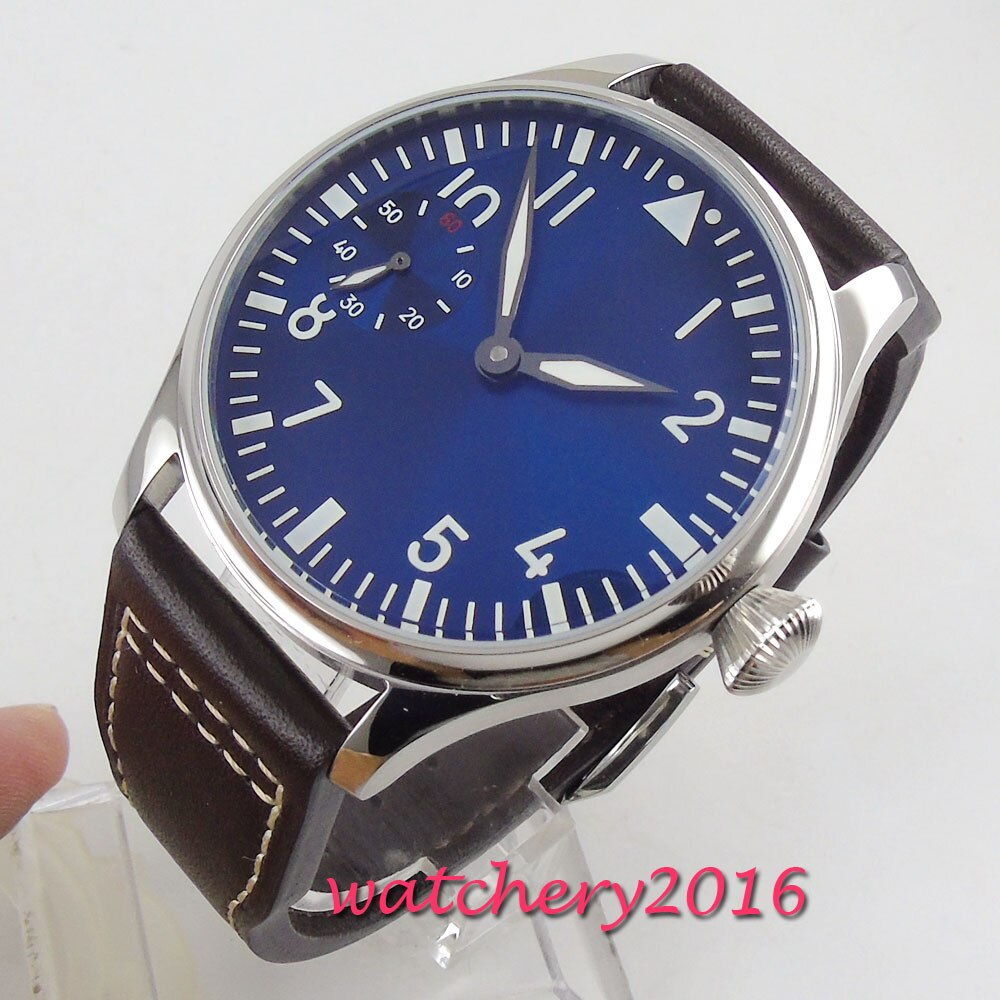 new fashion 44mm Blue Sterile pilot 17 Jewels Luminous 6497 Hands winding movement men's watch wholesale