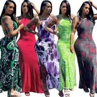 2021 european and american fashion sexy halter neck round neck printed skirt two sides split long skirt dress