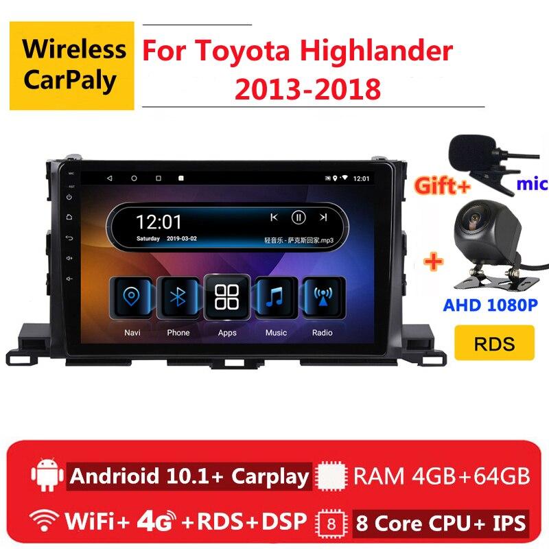 2 din 8 coeur android 10 autoradio auto stéréo pour Toyota Highlander XU50 2013 2014 15-2018 navigation GPS lecteur multimédia DVD