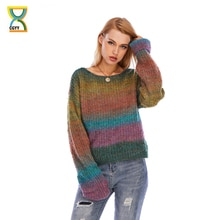 CGYY Rainbow Color Striped  Loose Causal  Long Sleeve O-Neck Breathable Pullover Sweater Soft Female