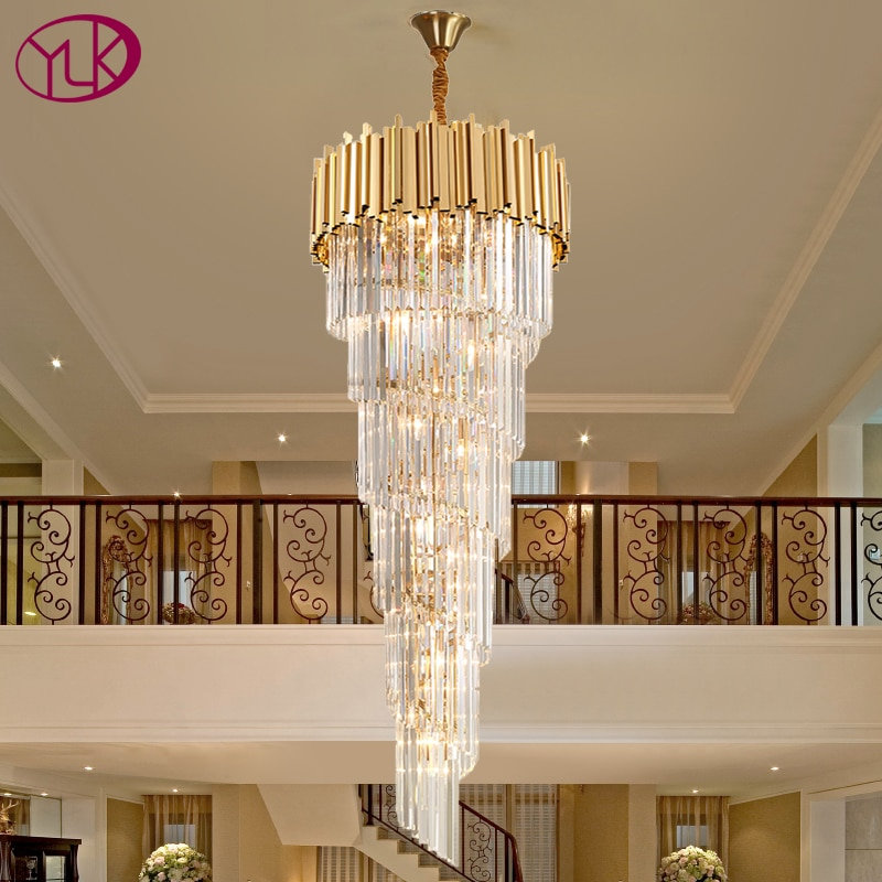 Modern crystal chandelier for staicase long villa chain lighting fixture large home decor gold stainless steel cristal lamp