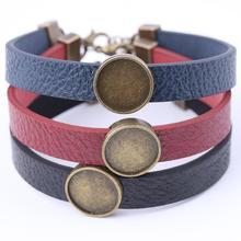 3 pièces cuir plat cabochon bracelet base paramètres 12mm dia blanc camée lunette plateaux pour bracelets faisant bronze antique