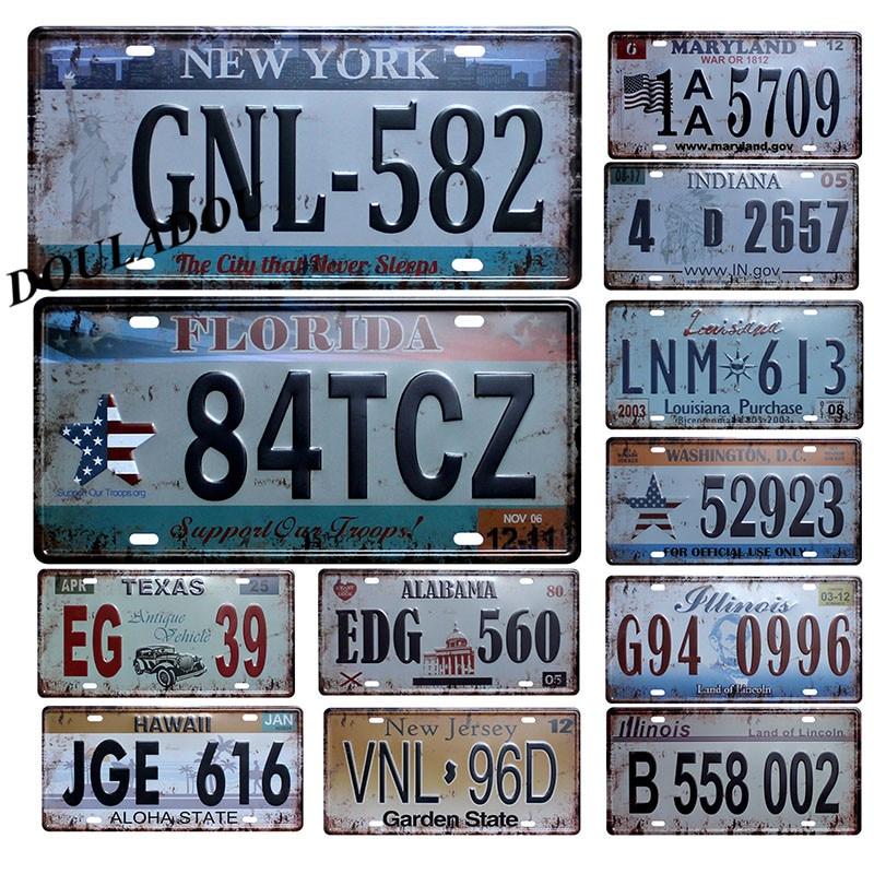 [Douladou] placa de matrícula de coche de EE. UU., cartel Vintage de Metal, señales de lata, placas de garaje de Bar Club, 30x15 CM