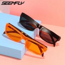 Seemfly Men Women Rectangle Sunglasses Small Frame Driving Sports Sun Glasses Vintage Female Goggle