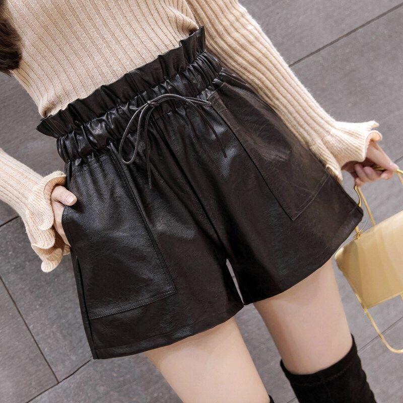 #0741 pantalones cortos de otoño para mujer de Pu Streetwear cintura alta elástico negro pierna ancha femenina Caual pantalones cortos de verano para mujeres de cuero sintético