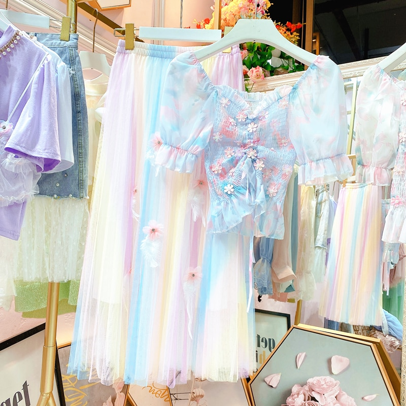 Fee Kleid Set Regenbogen Glitter Nail Bead Kordelzug Kurze Tops Regenbogen Plissee Rock Mädchen Damen Röcke Set Separat Kaufen