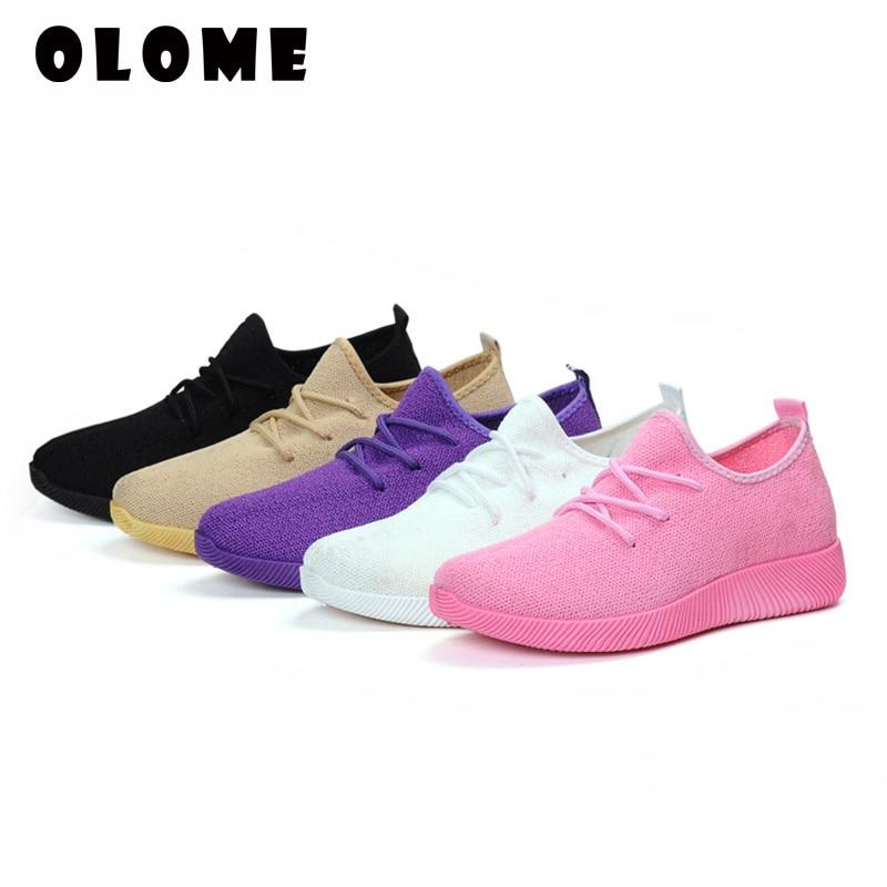 Plus Size Breathable Air Mesh Sneakers Women 2019 Spring Summer Slip On Platform Knitting Flats Soft Walking Shoe Women#39 Shoes