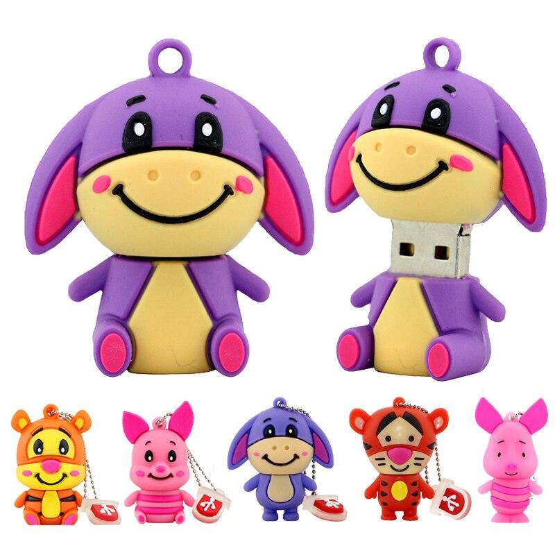 Lindo oso Winnie de Pen Drive Tigger burro Usb Flash Drive de memoria 1 GB 2GB 4GB 8GB 16GB 32GB 64GB cerdo rosa de dibujo animado de memoria