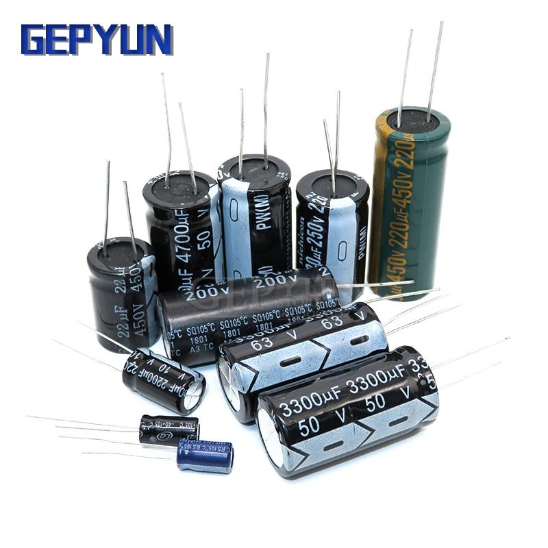 5 pces 63v3300uf 18*35mm 450v100uf 18*35mm 50v3300uf 18*30mm 50v4700uf 18*35mm capacitor eletrolítico novo original gepyun