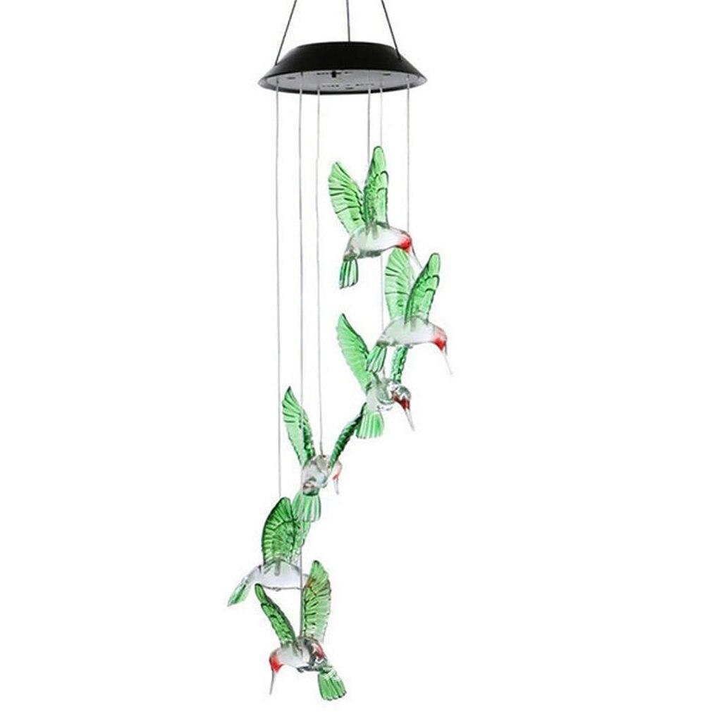 Luz Solar colibrí LED luz viento carillón de Color LED Solar impermeable colibrí carillón de viento