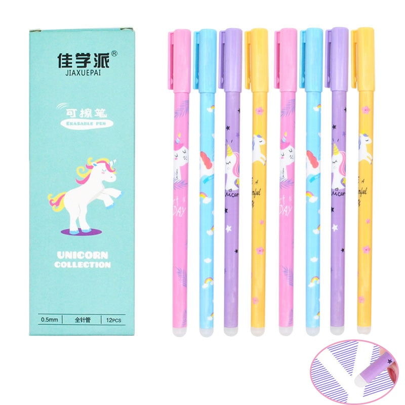 1Pc Cute Unicorn Erasable Pen Kawaii Fruit Erasable Gel Pen Novelty Washable Magical Pen For Kids Gifts School Office Stationery