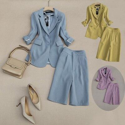 بدلة على الموضة مجموعات الإناث الصيف الجديدة عالية الجودة الأعمال ضئيلة دعوى معطف عالية الخصر خمس نقاط السراويل قطعتين دعوى النساء