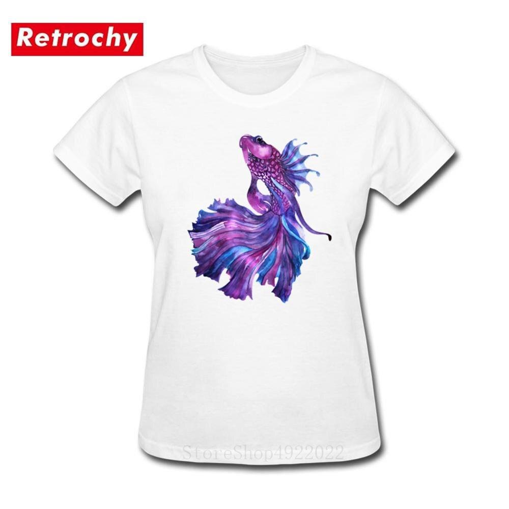 Camisa de algodão da carpa dos desenhos animados das mulheres dos desenhos animados das mulheres dos peixes