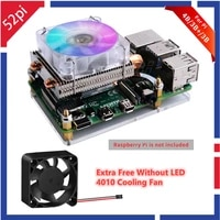 52pi low profile ice tower cooling fan metal case 7 colors rgb changing led light with bracket for raspberry pi 4 b 3b 3b