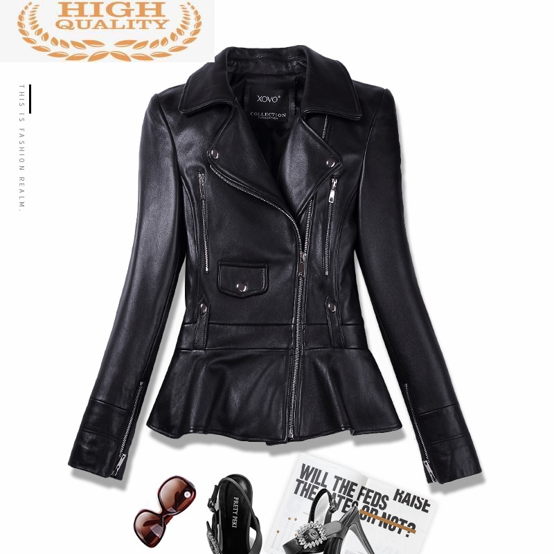 Real 100% Sheepskin Coat Female Genuine Leather Jacket Short Slim Jackets For Women Outerwear jaquet