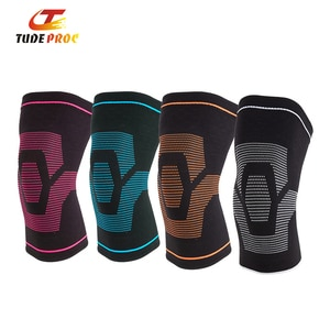 Tudeproc 1PC Elastic Knee Brace Gym Gear Nylon Sports Kneepads Basketball Volleyball Cycling Compression Knee Sleeve Support