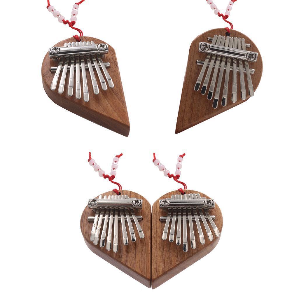Eight-tone Mini Kalimba Thumb Piano Heart-shaped Mahogany Portable Adult Children Holiday Gift Thumb Piano