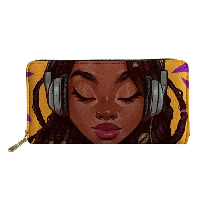 2020 Cartera de cuero Cremallera larga personalizada para mujer, monedero Afro Art Girl, cartera de mano para mujer, Cartera de PU, monedero con tarjetero