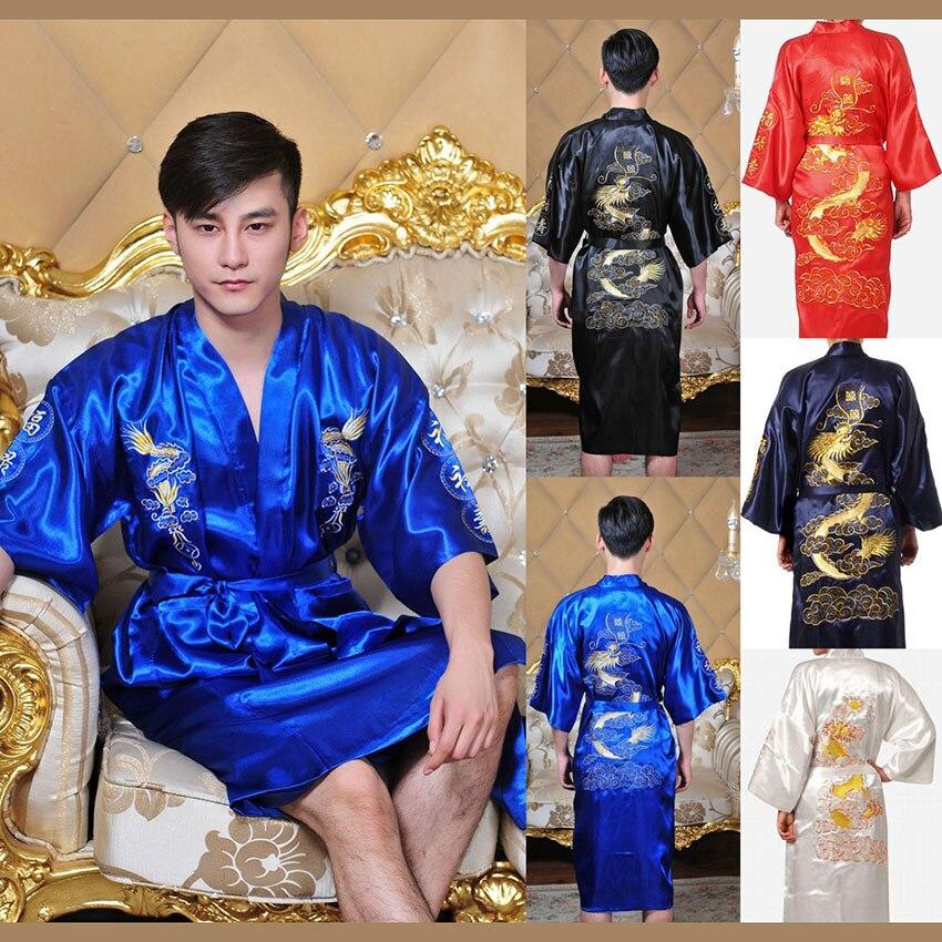 Kimono tradicional japonés de estilo chino en 7 colores para hombres, albornoz de Yukata, disfraces de Cosplay de satén, fiesta de flores de cerezo