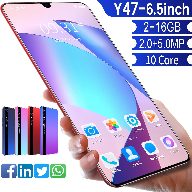 Global Version Smartphone Y47 6.5 Inch HD Scren 5600mAh 2GB Ram 16GB Rom Unlocked Dual Sim Mobilephone Celular Cellphone Android