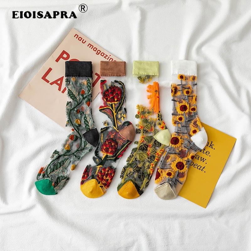 Novelty Harajuku New Product Crystal Silk Tide Socks Funny Sunflowers Vines Flowers Happy Women Socks Casual High Quality Sox