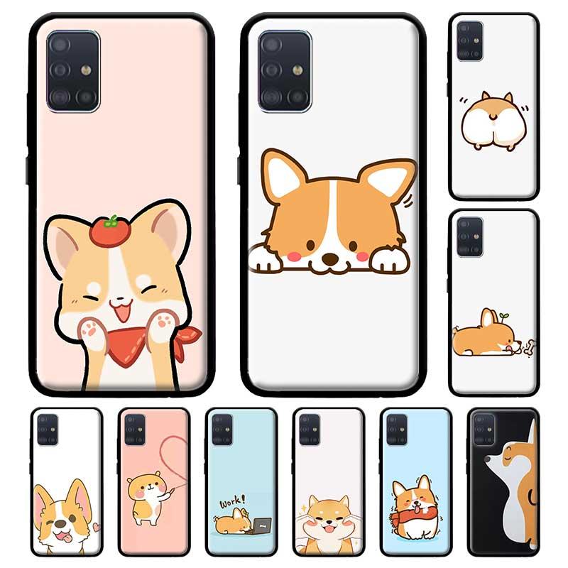 Funda Kawaii Shiba Corgi Dog para Samsung Galaxy A71 A51 M30s M51 A41 A31 A21s A11 A01 M31 M21 carcasa negra de Tpu para teléfono