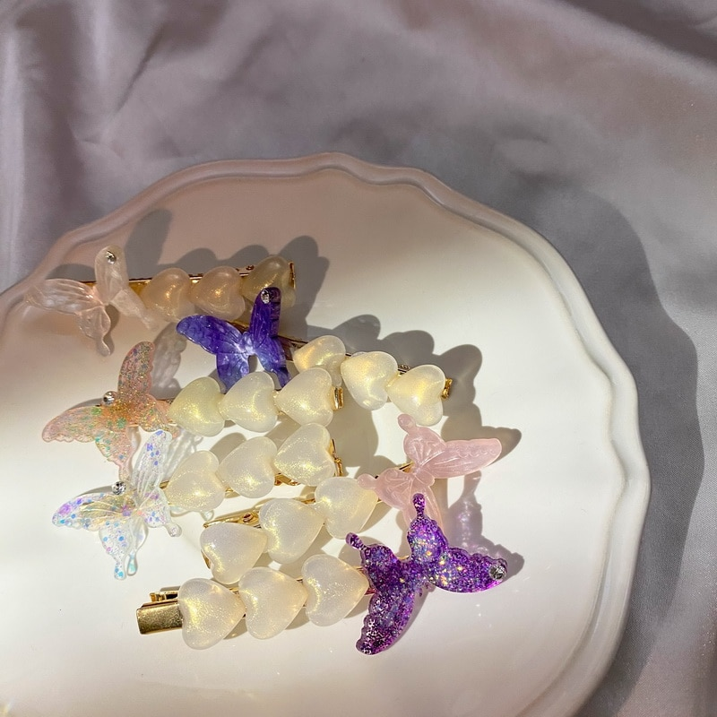 Pinza para el cabello de estrás, mariposa de moda coreana, horquillas con corazón de amor, lentejuelas coloridas geométricas, accesorios para el cabello de Clip LATERAL dulce