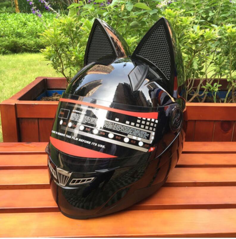 NITRINOS القط الأذن دراجة نارية خوذة عبر البلاد رجل وامرأة خوذة سباق أربعة مواسم مكافحة الضباب في جميع أنحاء القط الأذن خوذة.