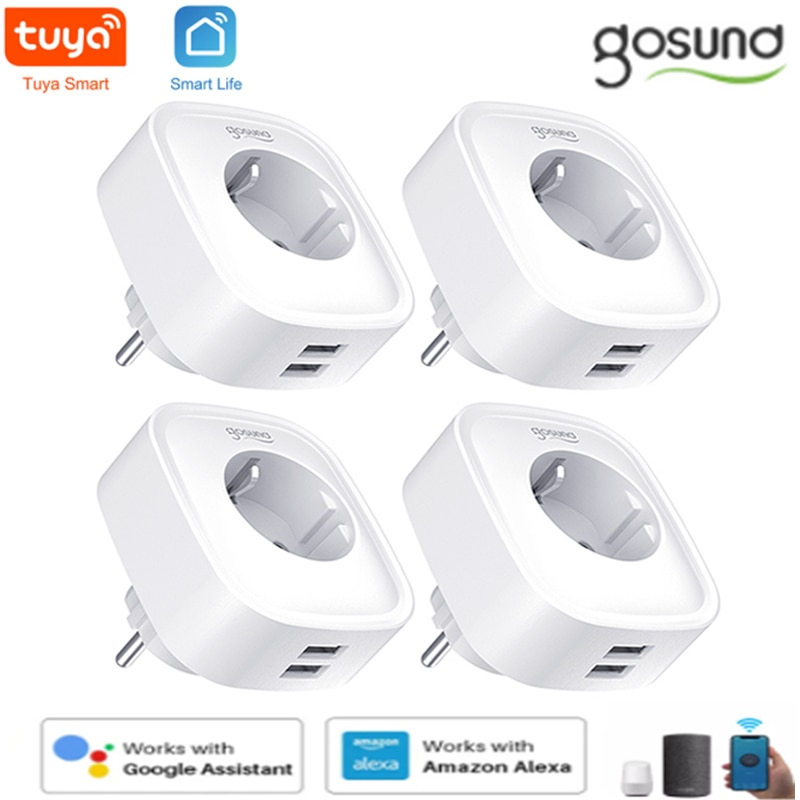 Gosund Tuya/Smart Life WiFi Smart Plug Socket With 2 USB Outlet 16A EU Control Home Appliances Work With Alexa Google Smart Home