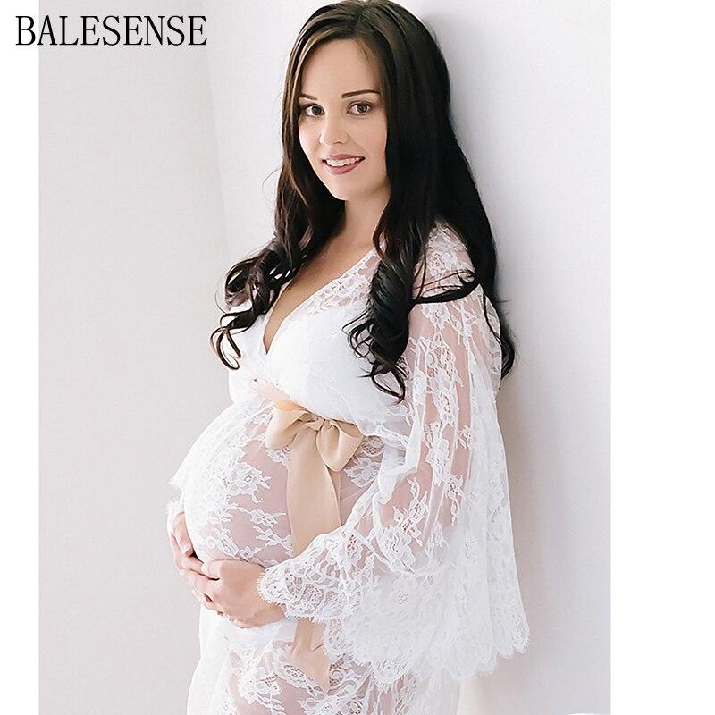 2020 białe koronkowe sukienki ciążowe kardigan fotografia ciążowa rekwizyty sukienka Flare rękaw sukienka ciążowa na sesja zdjęciowa
