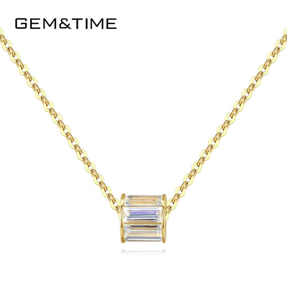 Gem & Time collar con colgante cilíndrico de oro sólido de 14K para mujeres con brillante CZ cadena encantadora gargantilla de joyería fina de oro 585 N14131