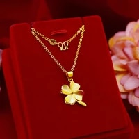 pendant necklaces for women clover chain necklaces real yellow gold plated women necklaces party wedding engagement jewelry