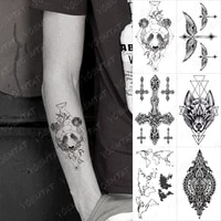 waterproof temporary tattoo sticker panda leaf geometric linear cross henna black tatoo arm fake tatto woman man child tattoos