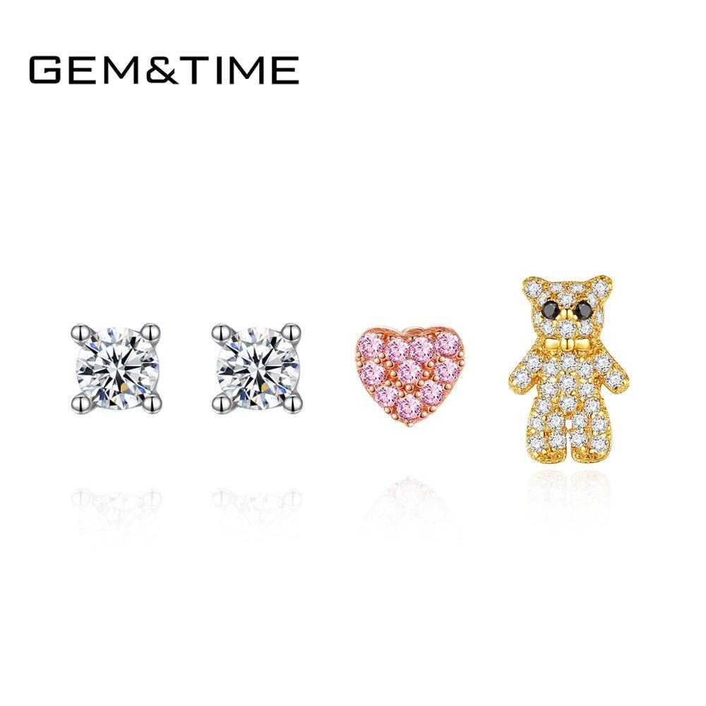 Gem & Time lindo oso corazón mujeres de moda pendientes Set 925 pendientes tipo botón de plata fina coreano pendientes conjunto joyería femenina SE-477