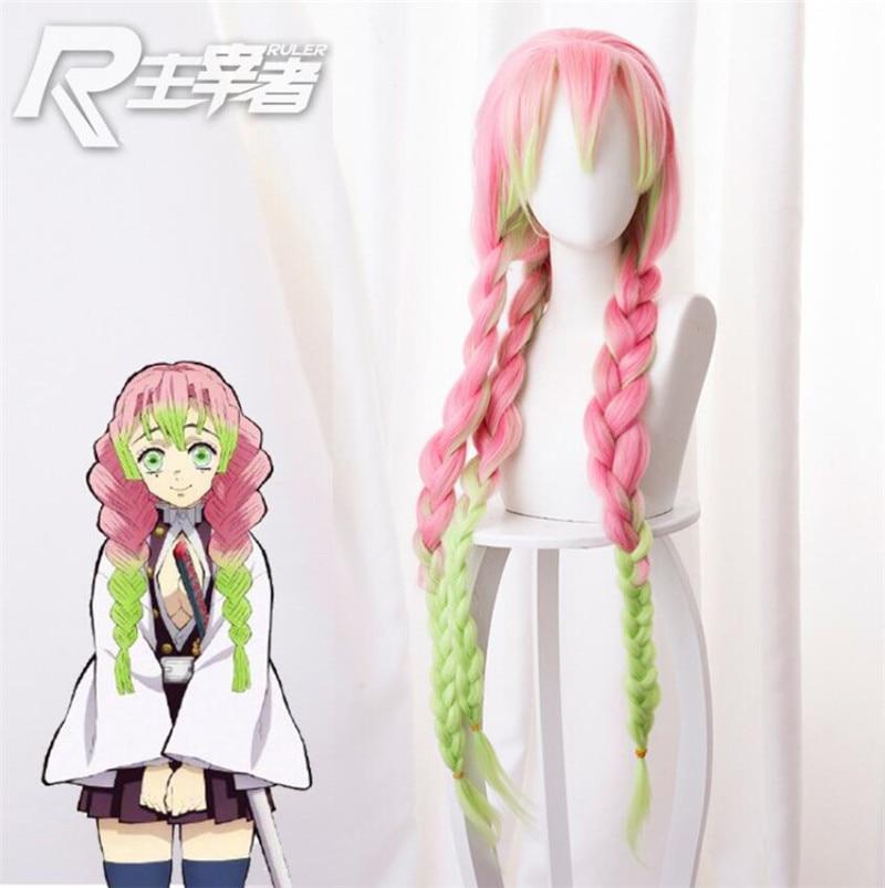 Kanroji Mitsuri Anime Dämon Slayer Kimetsu Keine Yaiba Frauen Cosplay Perücke Grün Rosa Bunte Haar Zöpfe Haar
