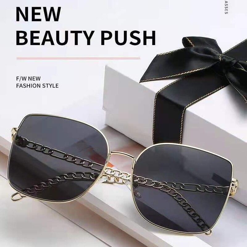 Korean glasses sunglasses women's box color sunglasses retro metal sunglasses