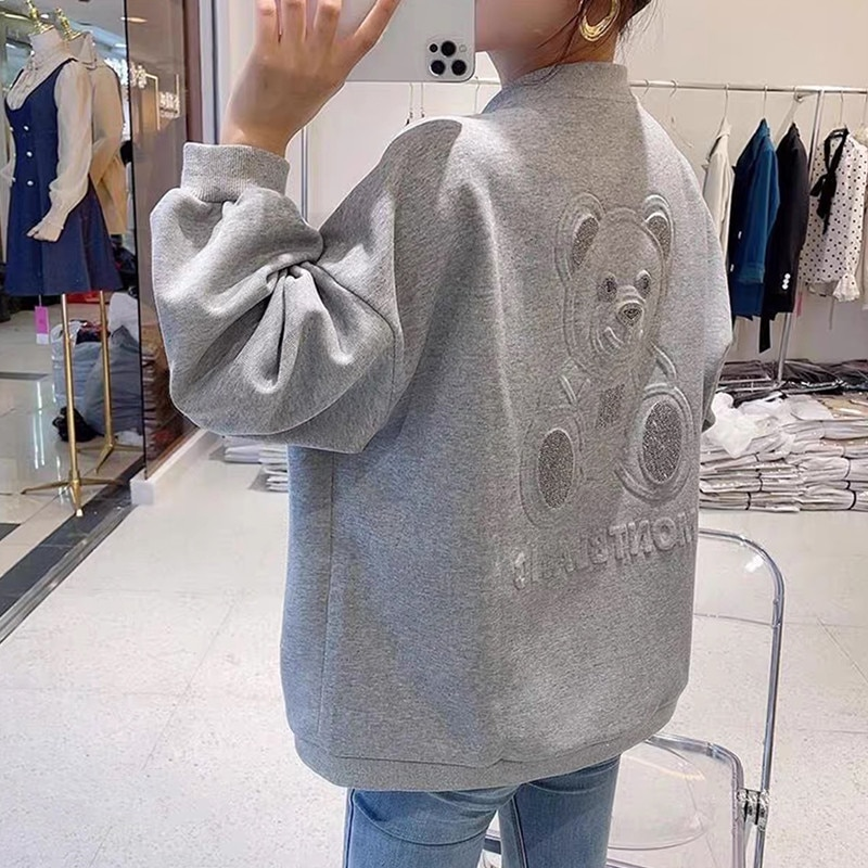 Bear Baseball Uniform Female Spring and Autumn 2021 New Korean Loose Thin Casual Sweater Cardigan Jacket Jackets  Woman