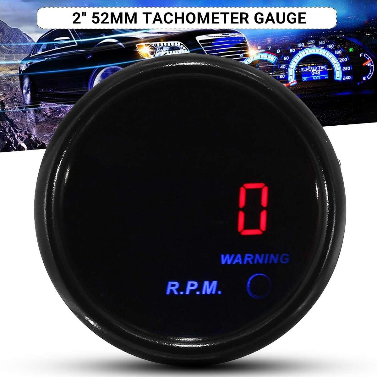 2 Inch 52mm Car Tachometer 0-9000 RPM Tacho Gauge Digital Red + Blue LED Display Black Face 12V Auto Universal Meter