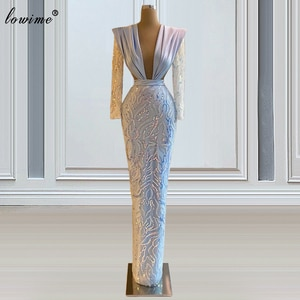 Arabic Formal Evening Dresses 2021 Long Sleeves Mermaid Evening Gowns Sequins Prom Party Dresses For Women Party Night Vestidos