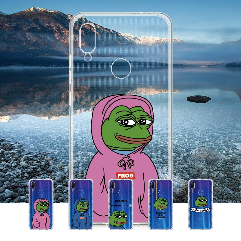Funda de teléfono Memes sapo triste divertida para Xiaomi Mi Redmi Note 5 6 7 8 9 10 lite Pro Plus suave Cristal de TPU Delgada funda protectora transparente