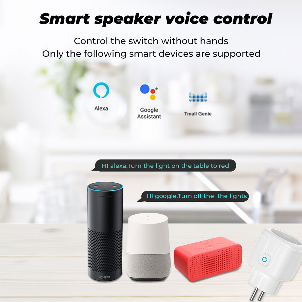 SMATRUL Tuya WiFi EU Smart Plug 16A 220V Adapter Wireless Remote Voice Control Power Monitor Timer Socket for Google Home Alexa