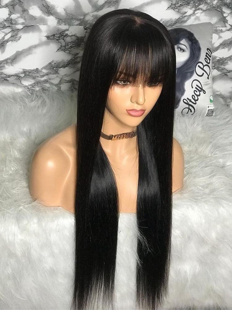 100% Human Hair Wig With Bangs Short Bob Human Hair Wigs For Black Women Cheap Brazilian Straight Black 30 Inch Long Fringe Wig