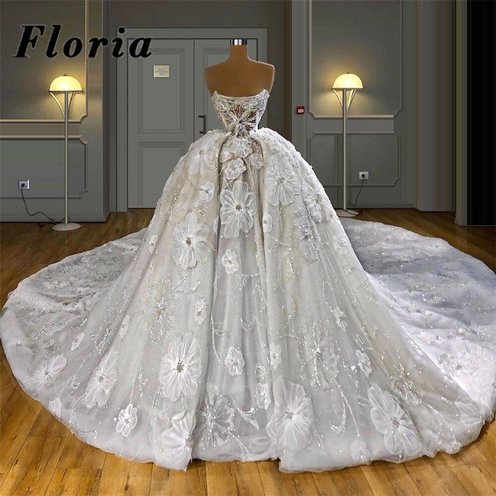 Princess Ball Gown Wedding Dress Middle East Luxury Beaded Bridal Gown 2021 Dubai Illusion Runway Bridal Gown Vestido de novia