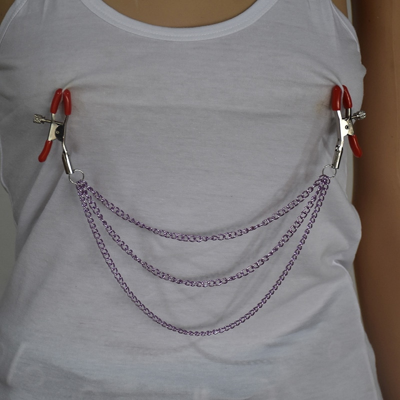 Woman Sexy Nipple Clamps With Purple Chain Labia Breast Sex Bondage Products Exotic Accessories