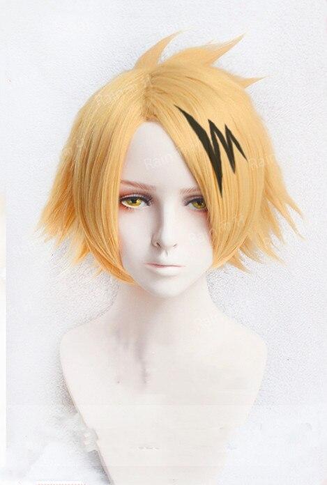 Anime My Hero Hero Academia Denki Kaminari Wigs Short Golden Heat Resistant Synthetic Cosplay Wigs+ Wig Cap+ Black Lightening