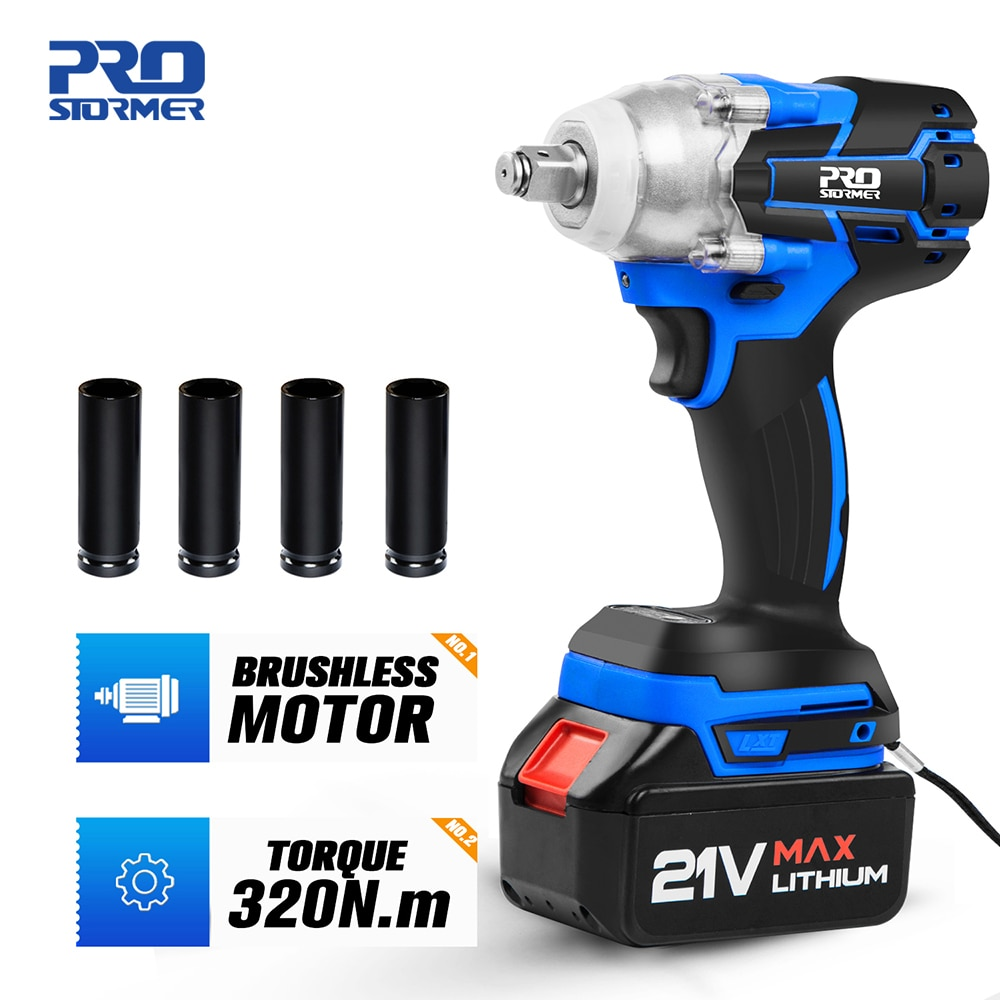 Electric Impact Wrench 21V Brushless Wrench Socket 4000mAh Li-ion Battery Hand Drill Installation Power Tools By PROSTORMER