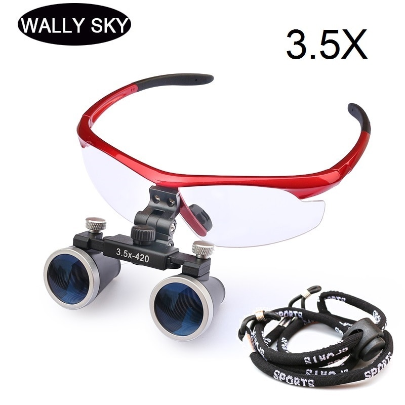 Head Wearing Dental Loupe Ultralight Binocular Magnifier Dentist Surgical Dental Glasses for Dental Surgery Angle Adjustable loupe magnifier surgical glasses 2 5x 3 5x dental loupes medical magnifier coated optical lens with clip for dentist surgical