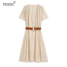 2020 Women Elegant Fashion Leopard Printed Pleated Long Dress With Belt Vintage V Neck Short Sleeve Dresses Chic Vestidos