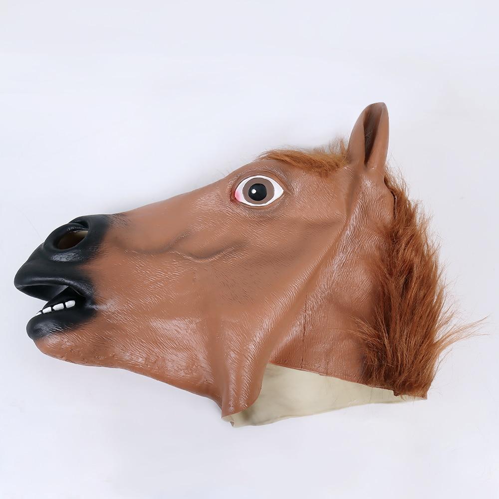 Купить с кэшбэком Horse Head Mask Horseman Cosplay Mascarillas Anime Masque Latex Masks Halloween Mascara Party Carnival Costume Prop Face Heltmet