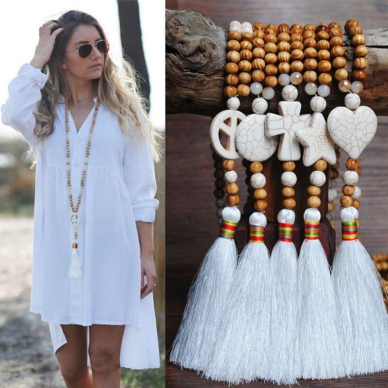 Женское винтажное ожерелье Naomy & ZP, длинное богемное ожерелье с бусинами, большие ювелирные украшения в этническом стиле
